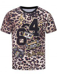 Short Sleeve Music Graphic Leopard Print T-shirt -