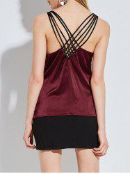 Criss Cross Back Satin Tank Top