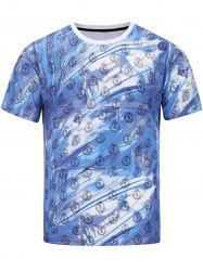 Short Sleeve 3D Warrior and Badges Print T-shirt - COLORMIX 2XL