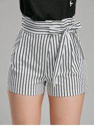 Belted High Waisted Mini Striped Shorts - STRIPE