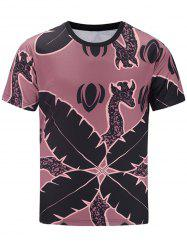 Short Sleeve Giraffe and Leaves Print T-shirt - COLORMIX L