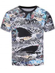 3D Animals Eyes Abstract Print Panel T-shirt - COLORMIX 2XL