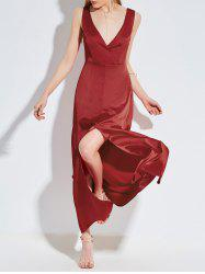 Plunging Neckine Backless Satin Maxi Dress