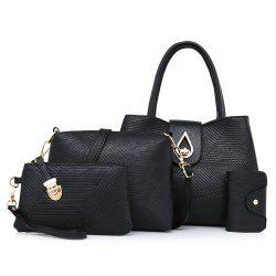 4 Pcs Line Embossed Handbag Set - BLACK
