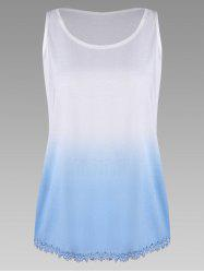 Plus Size Ombre Print Tank Top with Lace Trim