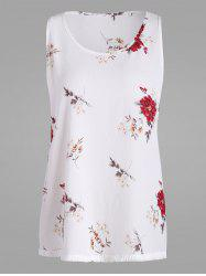 Floral Printed Plus Size Chiffon Top with Tassel Trim
