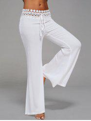 Crochet Panel Drawstring Flare Pants - Blanc