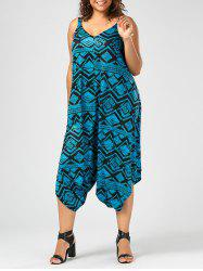 Printed Cami Plus Size Baggy Jumpsuit - COLORMIX