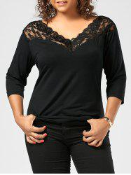 Plus Slze Lace Panel V Neck T-shirt - BLACK