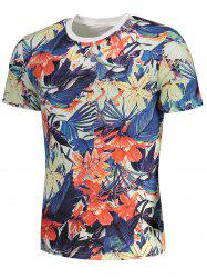 Short Sleeve Flowers Painting Print T-shirt - COLORMIX