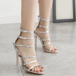 Stiletto Heel Buckle Straps Zipper Sandals - SILVER