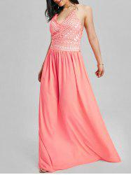 Crochet Insert Lace Up Floor Length Formal Dress - PINK