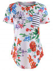 Flower Patchwork Stripe Print Short Sleeve T-Shirt