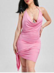 Halter Backless Club Mini-robe - ROSE PÂLE XL