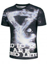 Geometric Galaxy and Graphic Print T-Shirt -