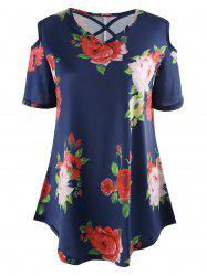 Flower Print Cold Shoulder Tunic T-Shirt