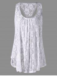 Raceback Floral Lace Panel Tank Top - GRAY