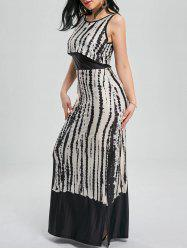 Sleeveless Maxi Tie Dye Cocktail Party Dress - BLACK + WHITE
