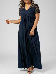 Plus Size Lace Insert Maxi Formal Dress with Sleeves