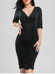 Scrunch Ruched Bodycon Cocktail Plunge Dress