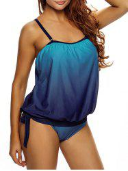 Cross Back Ombre Tankini Set - BLUE L