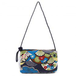 Tribal Print Linen Crossbody Bag - BLUE