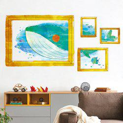 Cartoon Whale Photo Frame Kids Room Wall Sticker -