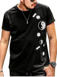 Plus Size Taiji Printed Tee - BLACK