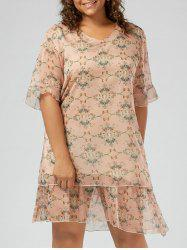 Plus Size Ruffle Printed  Chiffon Dress