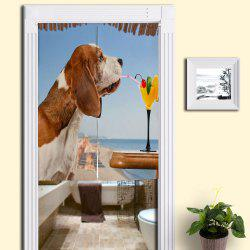 Dog Drink Juice Print Door Hanging Curtain