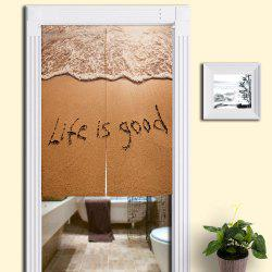 Beach Words Print Bathroom Decorative Door Curtain - SAND YELLOW