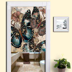 Bathroom Decor Butterflies Print Door Curtain - COLORMIX