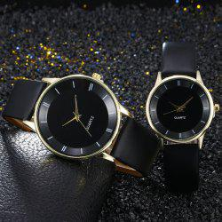 Minimalist Faux Leather Strap Couple Watches - BLACK GOLD