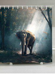 Elephant in Forest Waterproof Fabric Shower Curtain