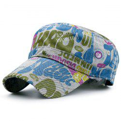Flat Top Graffiti Letters Printing Military Hat - BLUE AND WHITE