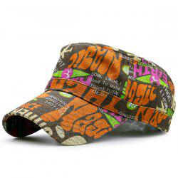 Flat Top Graffiti Letters Printing Military Hat - YELLOW + GREEN