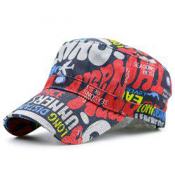 Flat Top Graffiti Letters Printing Military Hat - PURPLE VIOLET