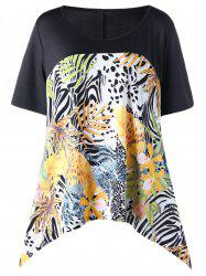 Asymmetrical Tropical Leaf Floral Plus Size Top