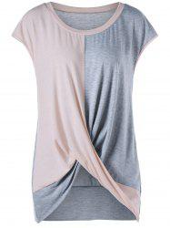 Color Block Plus Size Twist Tee - Pink + Gray - 2xl