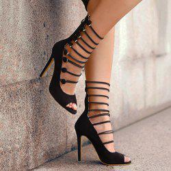 Stiletto Heel Buttons Peep Toe Shoes -