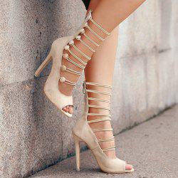 Stiletto Heel Buttons Peep Toe Shoes