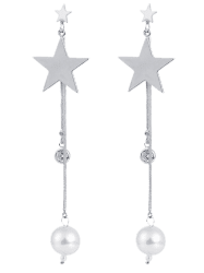 Artificial Pearl Pentastar Pendant Drop Earrings