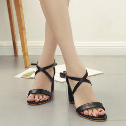 Block Heel Cross Strap Faux Leather Sandals - BLACK
