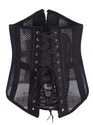 Mesh Underbust Lace Up Corset - BLACK S