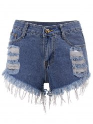 Cut Off Ripped Mini Denim Shorts - BLUE