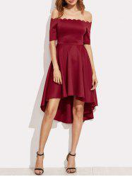 Off The Shoulder Scalloped High Low Dress - BURGUNDY