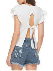Bowknot Split Back Ruffle Cap Sleeve T-Shirt