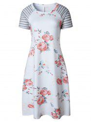 Floral Striped Raglan Sleeve T Shirt Dress - WHITE S