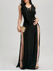 Lace Up High Slit Maxi Flounce Party Dress