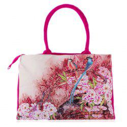 Flower Print Canvas Handbag